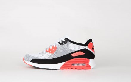"""Nike Wmns Air Max 90 Flyknit Ultra 2.0 """"Infrared"""" White/Wolf Grey Bright Crimson Black"""