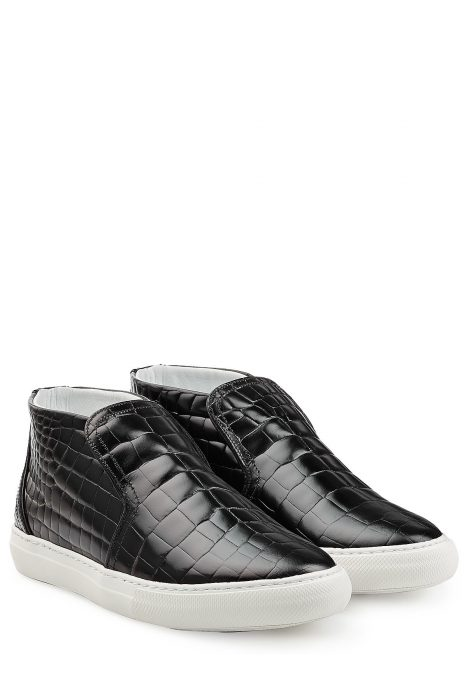 Pierre Hardy Embossed Leather Sneakers (zwart)
