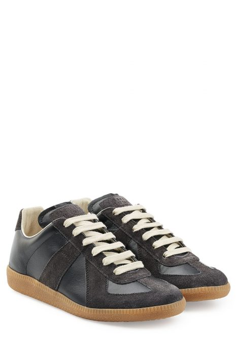 Maison Margiela Leather and Suede Sneakers (zwart)