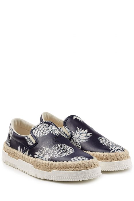 Valentino Leather Slip-On Sneakers with Raffia (blauw)