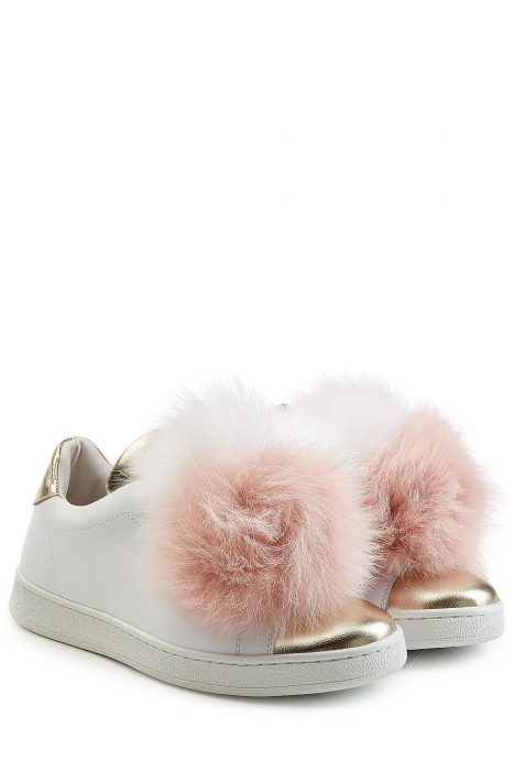Joshua Sanders Leather Sneakers with Fox Fur (wit)