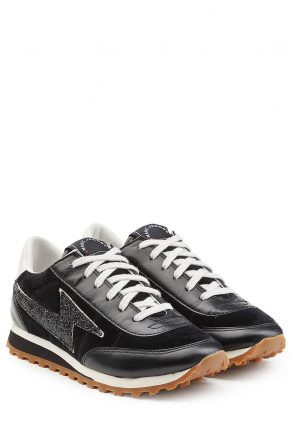 Marc Jacobs Velvet and Leather Sneakers (zwart)