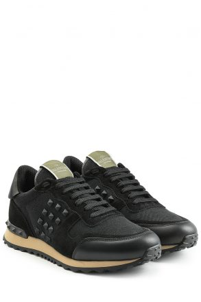 Valentino Rockstud Sneakers with Leather and Suede (zwart)