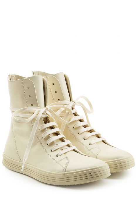 Rick Owens Leather Ankle Boot Sneakers (wit)
