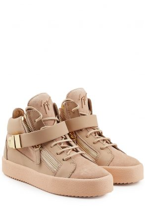 Giuseppe Zanotti Leather and Suede Mid-Top Sneakers (beige)