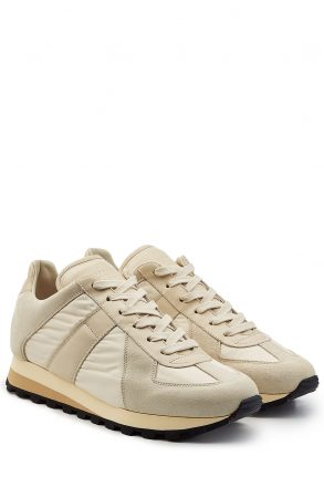Maison Margiela Retro Runner Sneakers with Leather (beige)