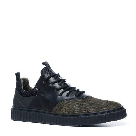 Manfield leren sneakers met slangenprint (zwart)