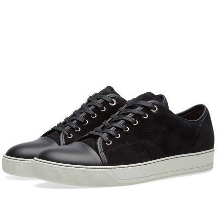 Lanvin Toe Cap Suede Low Sneaker (Black)
