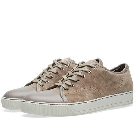 Lanvin Toe Cap Suede Low Sneaker (Neutrals)