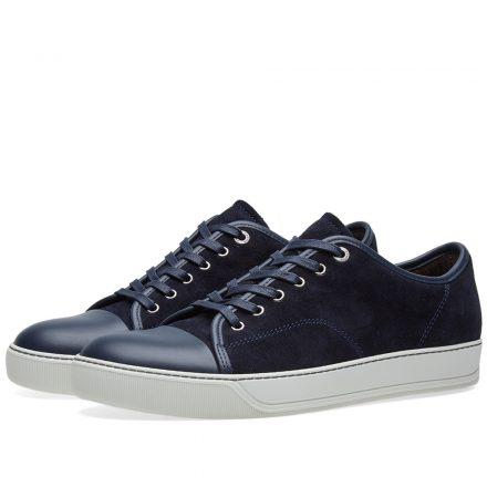 Lanvin Toe Cap Suede Low Sneaker (Blue)