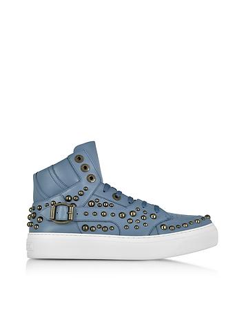 Jimmy Choo Ruben Jean Leather High Top Sneaker w/Studs (blauw)