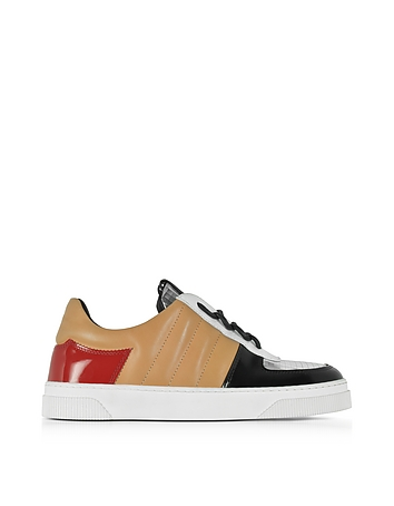 Proenza Schouler Light Brown and Silver Laminated Leather Sneakers (bruin)
