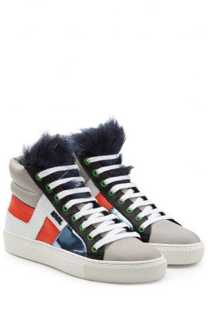 Karl Lagerfeld Karl Lagerfeld Leather High Tops with Faux Fu (multicolor)