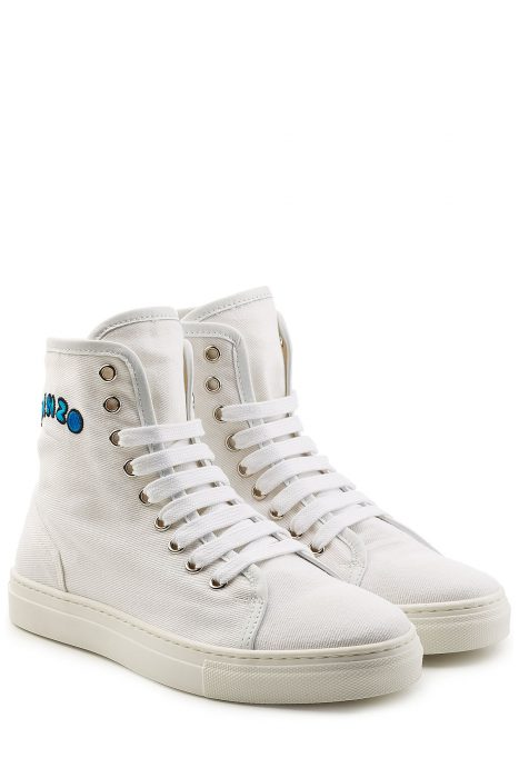 Kenzo Kenzo High-Top Cotton Sneakers (wit)