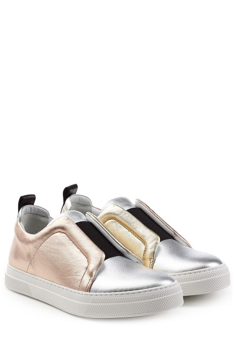 Pierre Hardy Pierre Hardy Metallic Leather Slip-On Sneakers (zilver)