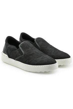 Valentino Valentino Fabric and Leather Slip-Ons (zwart)