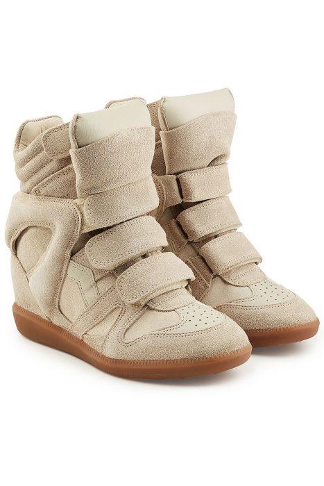 Isabel Marant Étoile Isabel Marant Étoile Beige Suede and Leather Bekett High-Top Wedge Sneakers (beige)