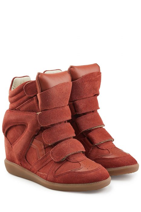 Isabel Marant Étoile Isabel Marant Étoile Suede and Leather Bekett High-Top Wedge Sneakers (rood)