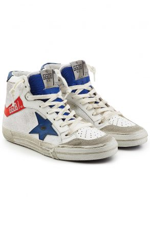 Golden Goose Deluxe Brand olden Goose Deluxe Brand 2.12 Leather and Suede High-Top Sneakers (wit)