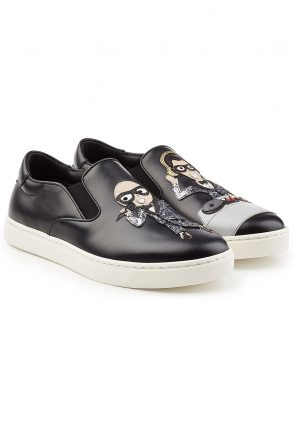Dolce & Gabbana Dolce & Gabbana Slip-On Leather Sneakers (zwart)