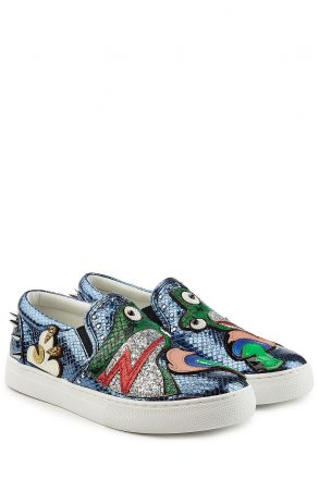 Marc Jacobs Marc Jacobs Embellished Leather Slip-On Sneakers (blauw)
