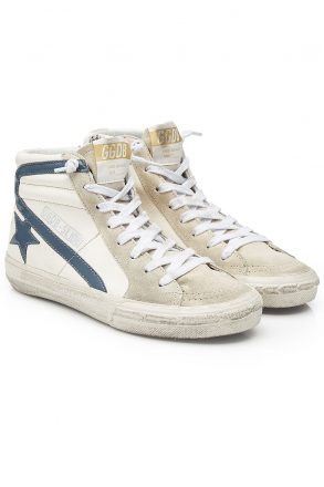 Golden Goose Deluxe Brand olden Goose Deluxe Brand Slide High-Top Sneakers with Suede and Leathe (wit)