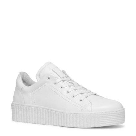 Manfield leren platform sneakers (wit)