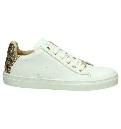 Witte Sneaker Rits/Veter Hampton Bays by Torfs met Glitters