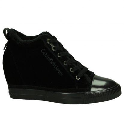 Calvin Klein Robina Zwarte Sneaker met Sleehak
