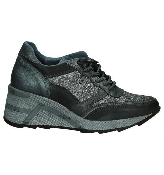 Cetti Zilveren Sneakers met Sleehak