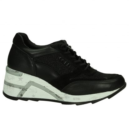 Zwarte Sneakers met Sleehak Cetti