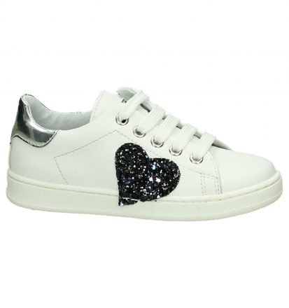 Witte K3 Sneakers met Glitterhart
