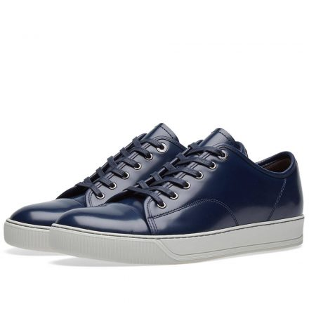 Lanvin Brushed Leather Low Sneaker (Blue)