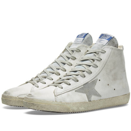 Golden Goose Deluxe Brand Frenchie Leather High Sneaker (White)
