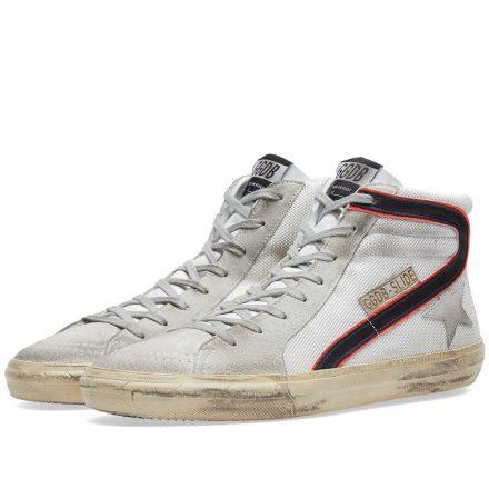 Golden Goose Deluxe Brand Slide Leather & Suede Sneaker (White)