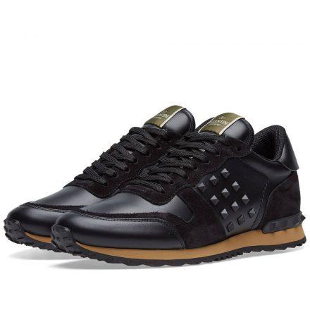 Valentino Tonal Rockrunner Sneaker (Black)