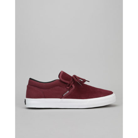 Supra Cuba Skate Shoes - Burgundy-White (UK 7)