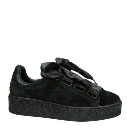 Nelson suède sneakers met plateauzool (zwart)