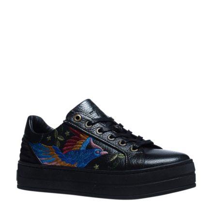 Manfield leren sneakers met borduursels (zwart)