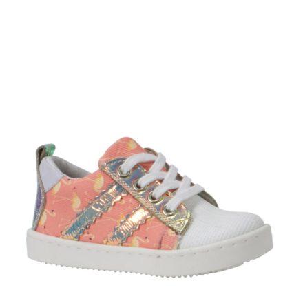 Kanjers sneakers met leer meisjes (roze)