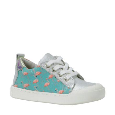 Kanjers sneakers met leer meisjes (groen)