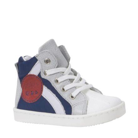 Kanjers sneakers met leer jongens (blauw)