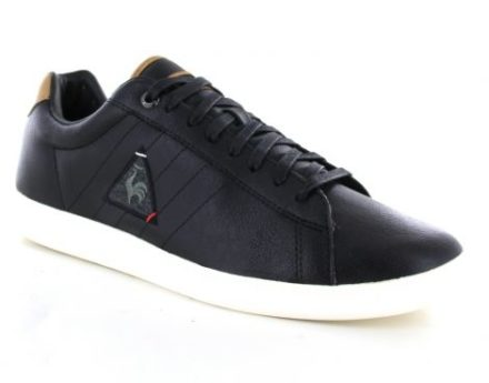 Le Coq Sportif Courtcraft S Leather 2 Tones Zwarte Sneaker (Zwart)