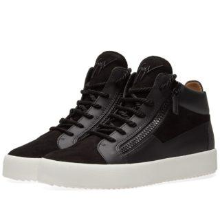 Giuseppe Zanotti Tassel Lace Double Zip Mid Sneaker (Black)