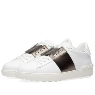 Valentino Open Low Top Metallic Sneaker (White)