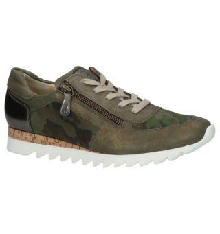 Green Lage Geklede Sneakers Kaki (groen/creme)