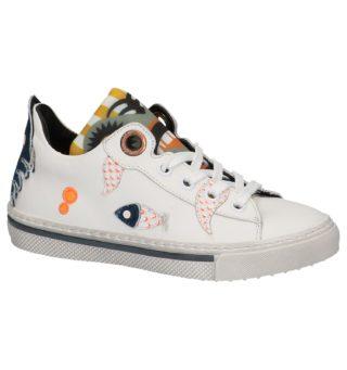 Witte Lage Geklede Sneakers met tekening (wit)