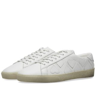 Saint Laurent SL01 Heart Applique Sneaker (White)