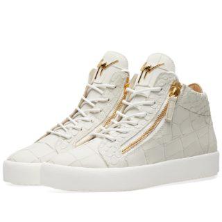 Giuseppe Zanotti Leather Croc Double Zip Mid Sneaker (White)