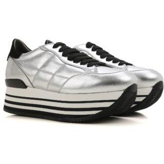 Hogan Maxi H222 Sneakers In Metallic-effect Leather (zilver/zwart)